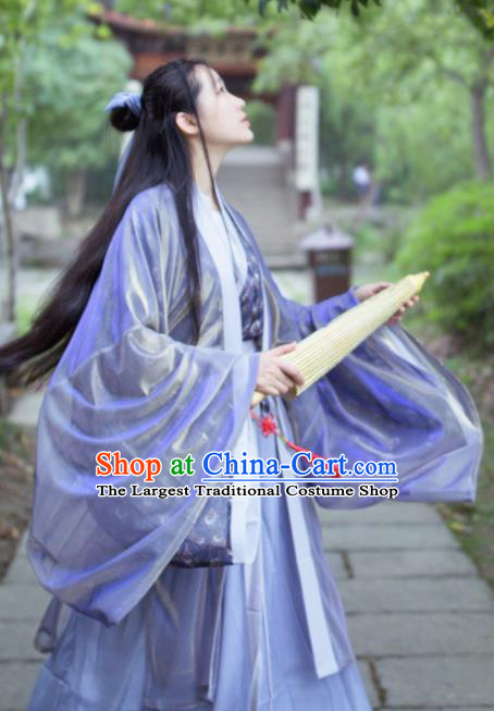 Traditional Chinese Jin Dynasty Historical Costume Ancient Nobility Lady Swordswoman Hanfu Dress for Women