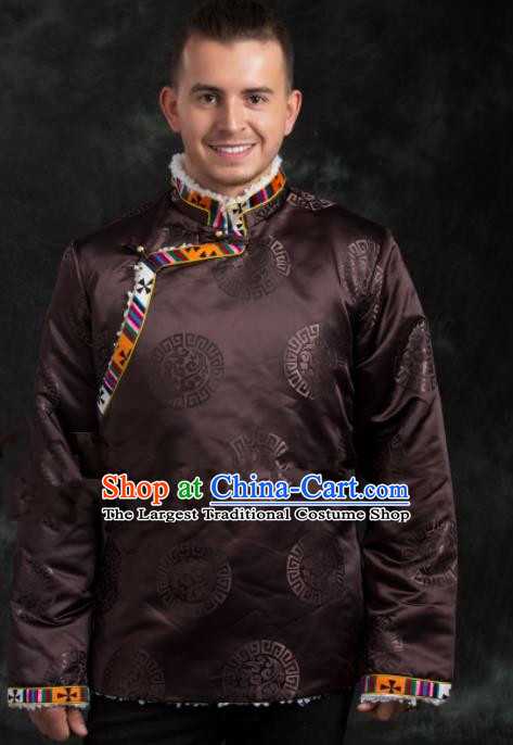 Chinese Traditional Tibetan Brown Brocade Cotton Padded Jacket Zang Nationality Ethnic Costume for Men