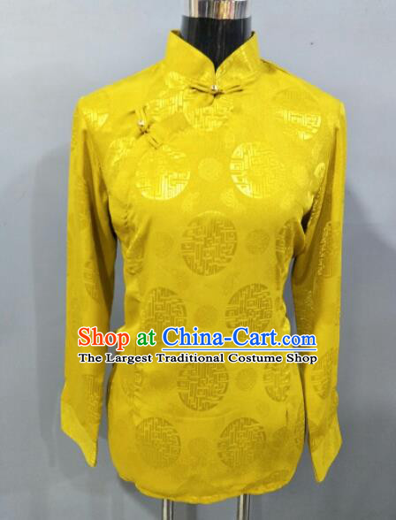 Traditional Chinese National Ethnic Tibetan Yellow Blouse Zang Nationality Folk Dance Costume for Women