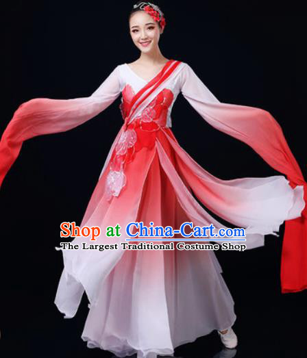 Chinese Traditional Classical Dance Water Sleeve Red Dress Umbrella Dance Stage Performance Costume for Women