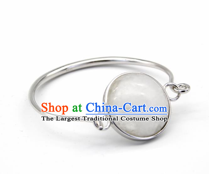 Chinese Traditional Mongolian Ethnic White Chalcedony Bracelet Accessories Handmade Mongol Nationality Bangle for Women