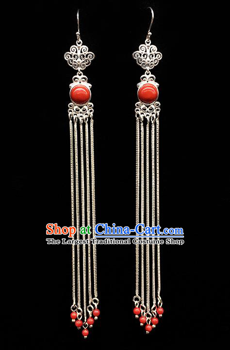 Traditional Chinese Mongolian Ethnic Long Tassel Earring Mongol Nationality Orange Bead Ear Accessories for Women