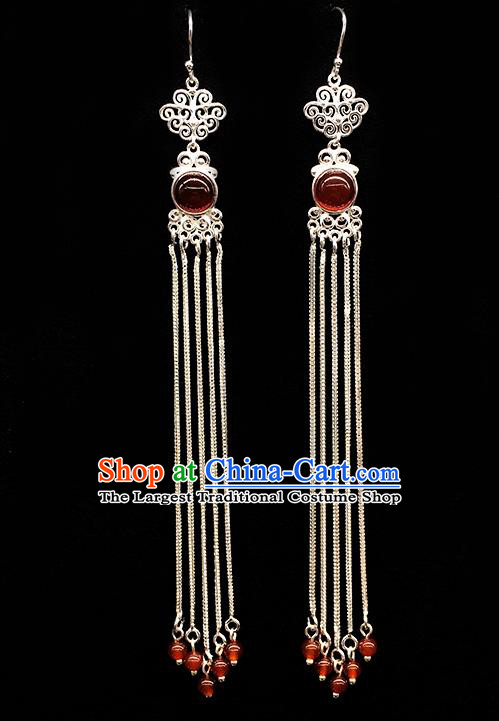 Traditional Chinese Mongolian Ethnic Long Tassel Earring Mongol Nationality Red Bead Ear Accessories for Women