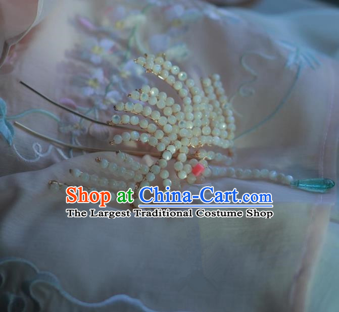 Traditional Chinese Hanfu Beads Phoenix Hair Crown Hair Accessories Ancient Princess Hairpins for Women