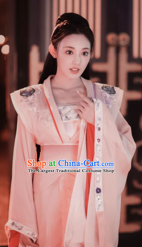 Chinese Ancient Drama Peri Hanfu Dress Tang Dynasty Crown Princess Embroidered Historical Costume for Women