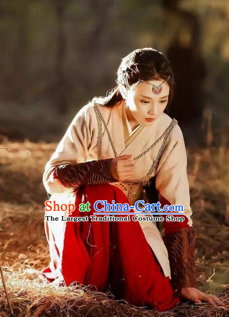Chinese Ancient Drama Female Swordsman Hanfu Dress Tang Dynasty Ethnic Princess Embroidered Historical Costume for Women