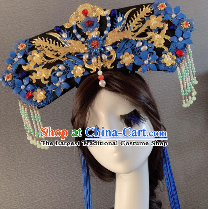 Chinese Handmade Qing Dynasty Hair Accessories Ancient Palace Queen Phoenix Coronet Headwear for Women