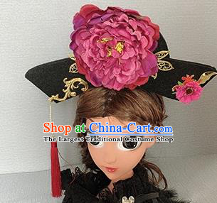 Traditional Chinese Ancient Palace Rosy Peony Hair Clasp Qing Dynasty Princess Hair Accessories for Women