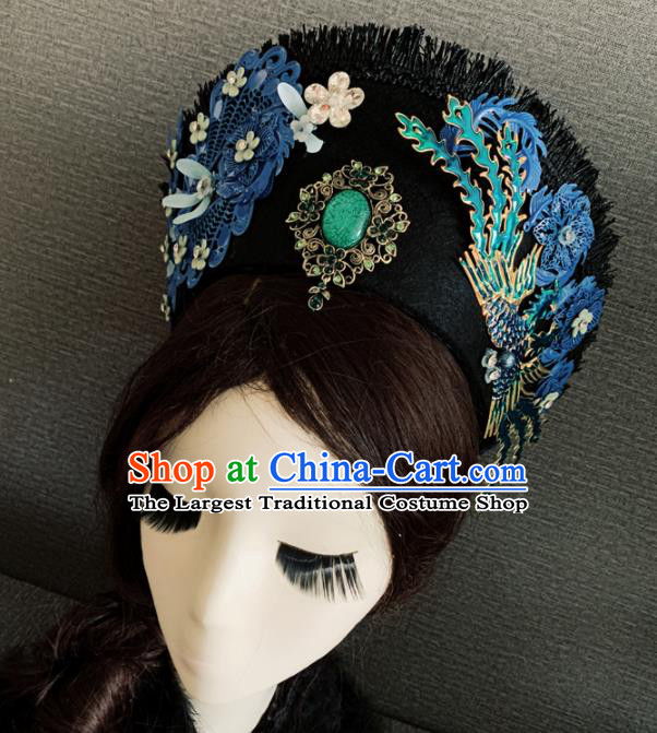 Traditional Chinese Ancient Qing Dynasty Palace Queen Cloisonne Phoenix Coronet Headwear Hair Accessories for Women