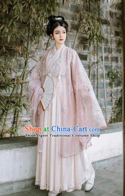 Chinese Ancient Court Princess Pink Hanfu Dress Traditional Jin Dynasty Historical Costume for Women
