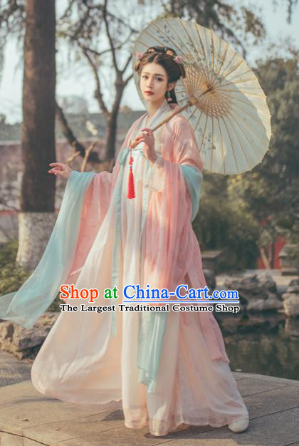 Chinese Ancient Imperial Princess Pink Hanfu Dress Traditional Tang Dynasty Court Lady Historical Costume for Women