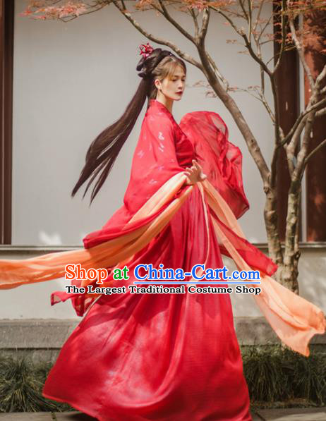 Chinese Ancient Wedding Red Hanfu Dress Traditional Tang Dynasty Princess Historical Costume for Women