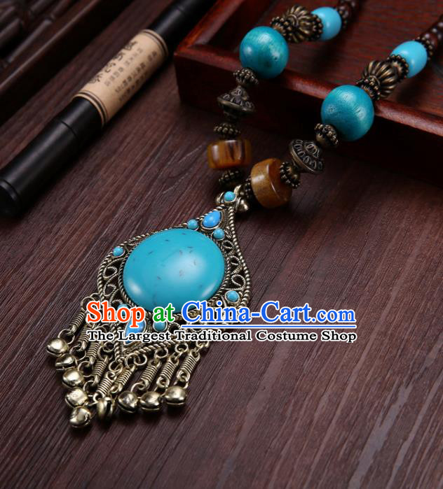 Handmade Chinese Tibetan Ethnic Blue Necklace Traditional Zang Nationality Necklet Accessories for Women