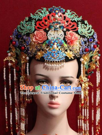 Chinese Ancient Empress Headwear Cloisonne Tassel Hat Traditional Qing Dynasty Queen Hair Accessories for Women