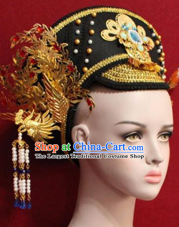 Chinese Ancient Manchu Empress Headwear Golden Phoenix Hat Traditional Qing Dynasty Queen Hair Accessories for Women