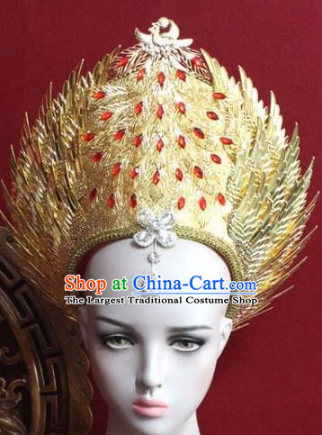 Handmade Thailand Traditional Hair Accessories Ancient Queen Red Crystal Phoenix Royal Crown for Women