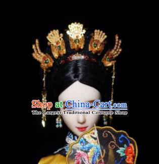 Chinese Ancient Qing Dynasty Manchu Queen Phoenix Headwear Traditional Palace Hair Accessories for Women