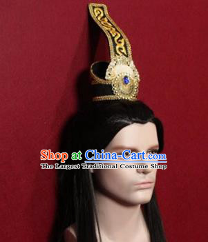 Handmade Chinese Han Dynasty Prince Black Hairdo Crown Traditional Ancient Swordsman Hair Accessories for Men