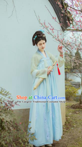 Chinese Traditional Tang Dynasty Embroidered Hanfu Dress Ancient Court Maid Costume for Women