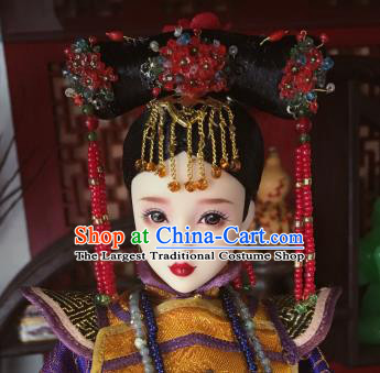Chinese Ancient Court Lady Tassel Headwear Traditional Qing Dynasty Palace Manchu Hair Accessories for Women
