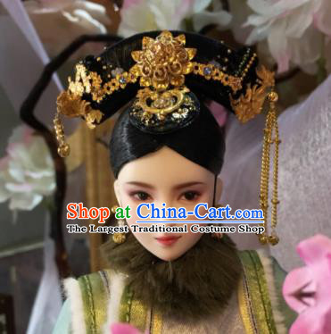 Chinese Ancient Manchu Imperial Consort Tassel Headwear Traditional Qing Dynasty Palace Hair Accessories for Women