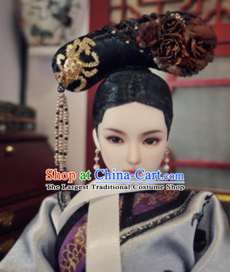 Chinese Ancient Manchu Imperial Consort Headwear Traditional Qing Dynasty Palace Hair Accessories for Women