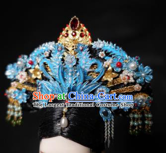 Chinese Ancient Imperial Consort Phoenix Coronet Headwear Traditional Qing Dynasty Palace Manchu Hair Accessories for Women