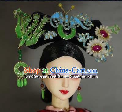 Chinese Ancient Palace Manchu Imperial Consort Headwear Traditional Qing Dynasty Queen Hair Accessories for Women