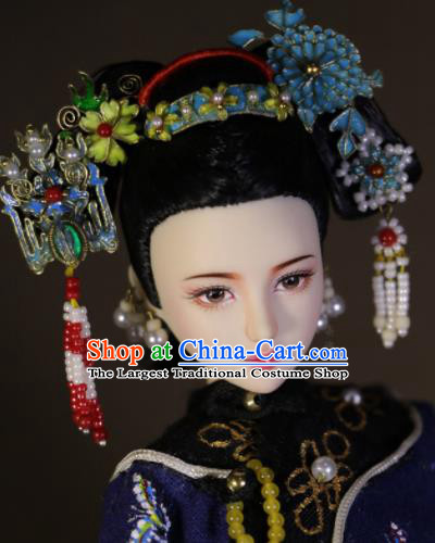 Chinese Ancient Empress Cloisonne Hairpins Headwear Traditional Qing Dynasty Palace Manchu Queen Hair Accessories for Women