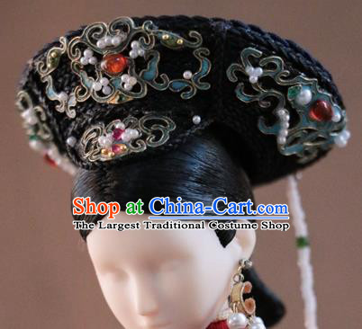 Chinese Ancient Palace Empress Agate Hat Headwear Traditional Qing Dynasty Manchu Queen Hair Accessories for Women