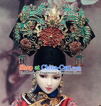 Chinese Ancient Palace Queen Headwear Phoenix Coronet Traditional Qing Dynasty Manchu Empress Hair Accessories for Women