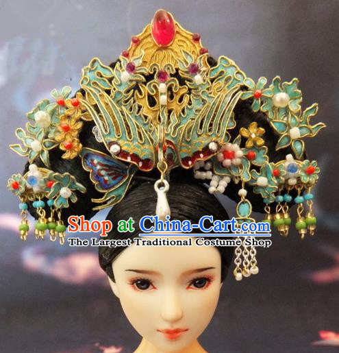 Chinese Ancient Palace Queen Phoenix Headwear Traditional Qing Dynasty Manchu Empress Hair Accessories for Women