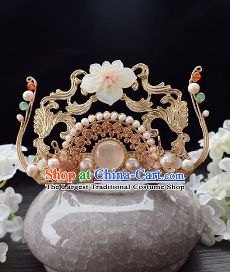 Chinese Ancient Princess Palace Shell Lotus Hair Crown Hairpins Traditional Handmade Hanfu Hair Accessories for Women