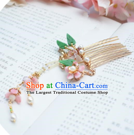 Chinese Ancient Princess Palace Golden Hair Comb Hairpins Traditional Handmade Hanfu Hair Accessories for Women