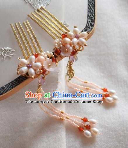 Chinese Ancient Princess Palace Hair Combs Hairpins Traditional Handmade Hanfu Hair Accessories for Women