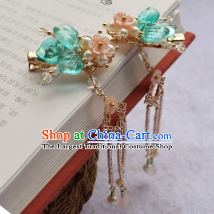 Chinese Ancient Palace Green Leaf Hair Claws Princess Hairpins Traditional Handmade Hanfu Hair Accessories for Women