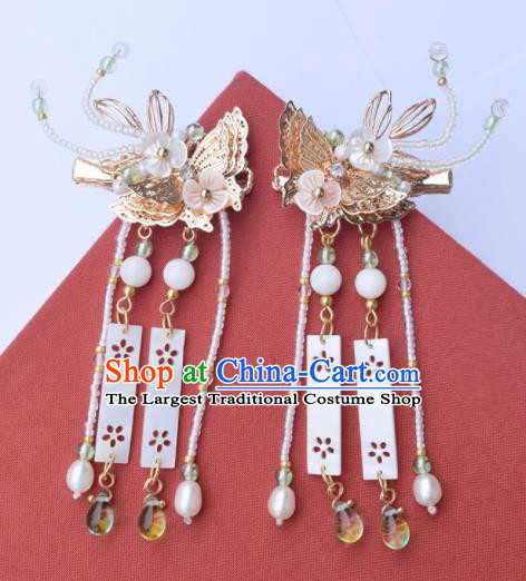 Chinese Ancient Palace Golden Butterfly Hair Claws Princess Hairpins Traditional Handmade Hanfu Hair Accessories for Women