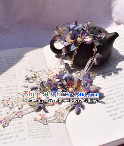 Chinese Ancient Princess Palace Purple Flowers Hair Claw Hairpins Traditional Handmade Hanfu Hair Accessories for Women