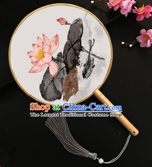 Chinese Handmade Classical Palace Fans Ink Painting Lotus Silk Round Fan for Women