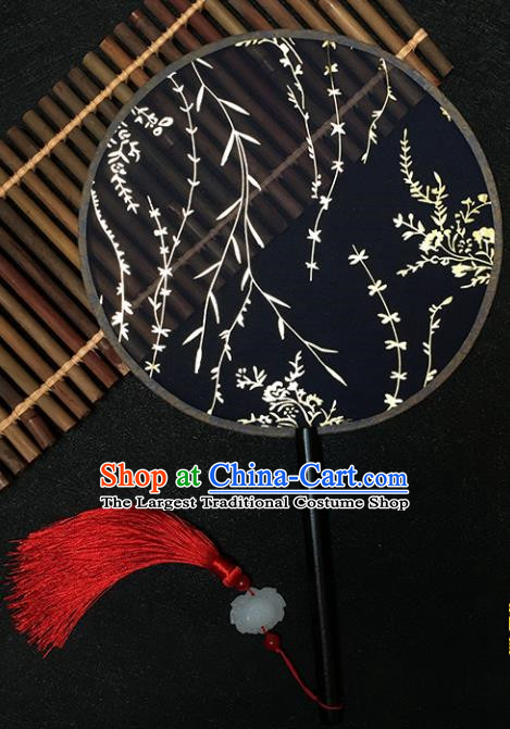 Chinese Handmade Classical Palace Fans Traditional Gilding Willow Black Silk Round Fan for Women