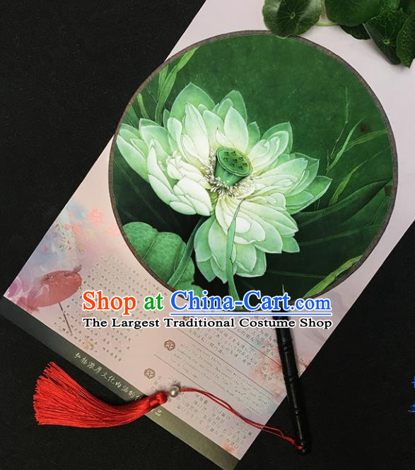 Chinese Handmade Classical Palace Fans Traditional Printing Lotus Green Round Fan for Women