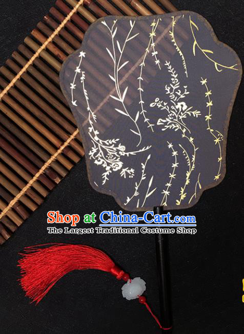 Chinese Handmade Classical Palace Fans Traditional Gilding Black Silk Fan for Women