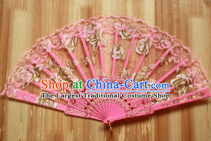 Chinese Handmade Folk Dance Pink Lace Rose Folding Fans Classical Accordion Fan for Women