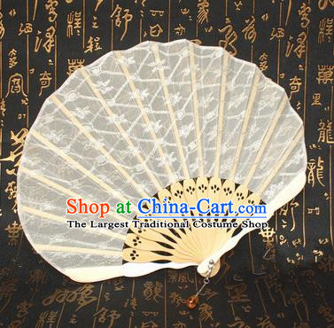 Chinese Handmade Classical Folding Fans Folk Dance White Lace Accordion Fan for Women