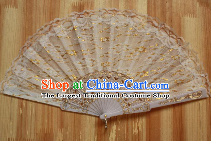 Chinese Handmade Classical White Lace Folding Fans Folk Dance Accordion Fan for Women