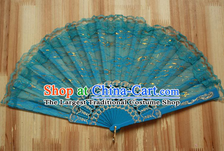 Chinese Handmade Classical Blue Lace Folding Fans Folk Dance Accordion Fan for Women