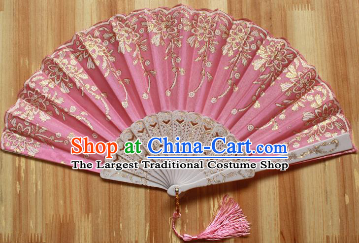 Chinese Handmade Classical Pink Folding Fans Folk Dance Accordion Fan for Women