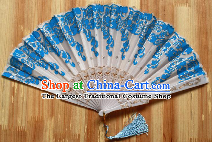 Chinese Handmade Classical Blue Folding Fans Folk Dance Accordion Fan for Women