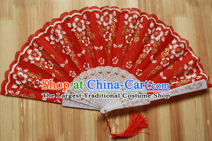 Chinese Handmade Folk Dance Red Folding Fans Classical Accordion Fan for Women