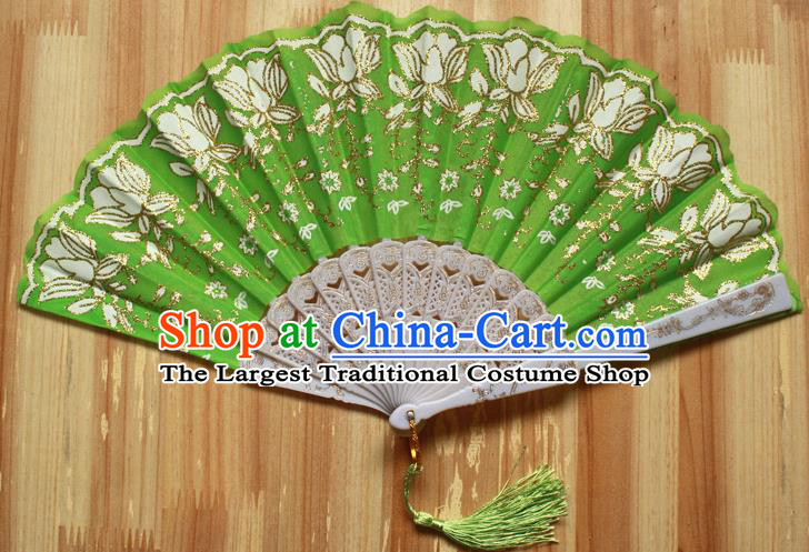 Chinese Handmade Folk Dance Green Folding Fans Classical Accordion Fan for Women